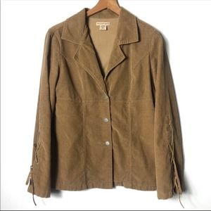 At Last Corduroy Boho Jacket Tie Lace Up Sleeves